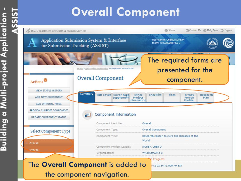 Overall Component The Overall Component is added to the component navigation. The required forms are presented for the component. Building a Multi-pro