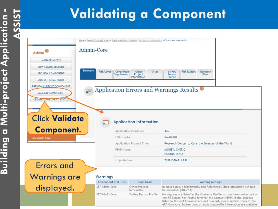 Validating a Component Click Validate Component. 44 Building a Multi-project Application - ASSIST Errors and Warnings are displayed.
