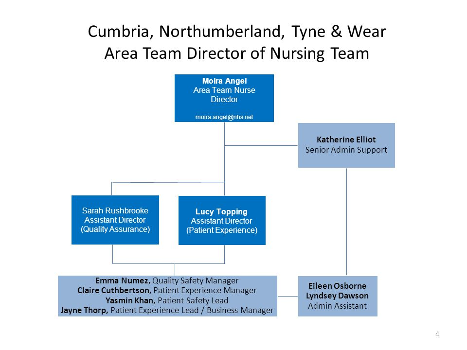 Cumbria, Northumberland, Tyne & Wear Area Team Director of Nursing Team Moira Angel Area Team Nurse Director moira.angel@nhs.net Katherine Elliot Seni