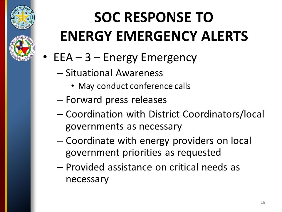EEA – 3 – Energy Emergency – Situational Awareness May conduct conference calls – Forward press releases – Coordination with District Coordinators/local governments as necessary – Coordinate with energy providers on local government priorities as requested – Provided assistance on critical needs as necessary SOC RESPONSE TO ENERGY EMERGENCY ALERTS 18
