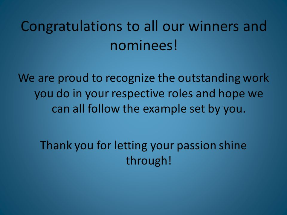 Congratulations to all our winners and nominees.