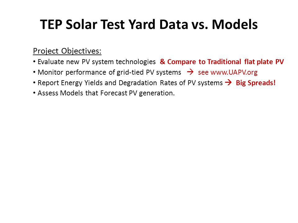 TEP Solar Test Yard Data vs.