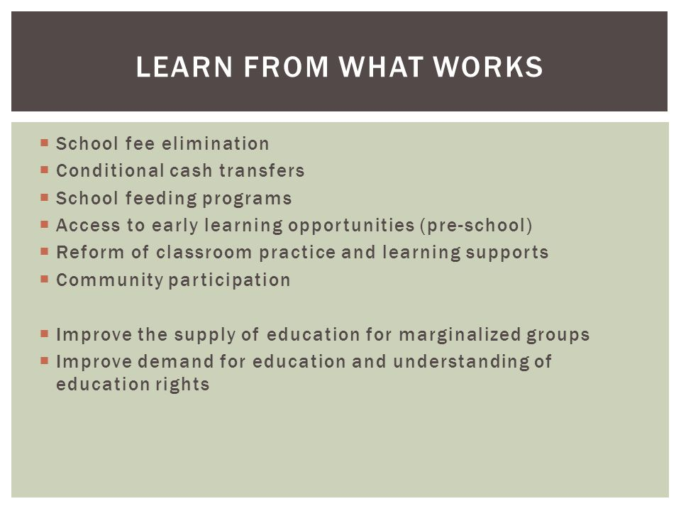  School fee elimination  Conditional cash transfers  School feeding programs  Access to early learning opportunities (pre-school)  Reform of classroom practice and learning supports  Community participation  Improve the supply of education for marginalized groups  Improve demand for education and understanding of education rights LEARN FROM WHAT WORKS