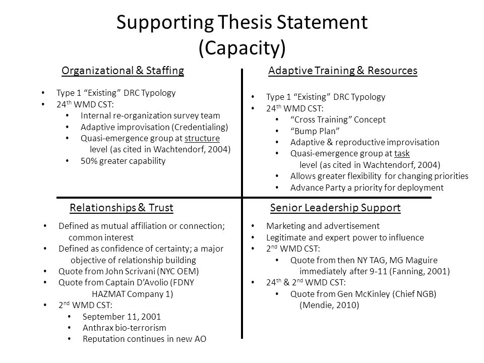 Supporting Thesis Statement (Capacity) Organizational & StaffingAdaptive Training & Resources Relationships & TrustSenior Leadership Support Type 1 Existing DRC Typology 24 th WMD CST: Internal re-organization survey team Adaptive improvisation (Credentialing) Quasi-emergence group at structure level (as cited in Wachtendorf, 2004) 50% greater capability Type 1 Existing DRC Typology 24 th WMD CST: Cross Training Concept Bump Plan Adaptive & reproductive improvisation Quasi-emergence group at task level (as cited in Wachtendorf, 2004) Allows greater flexibility for changing priorities Advance Party a priority for deployment Defined as mutual affiliation or connection; common interest Defined as confidence of certainty; a major objective of relationship building Quote from John Scrivani (NYC OEM) Quote from Captain D'Avolio (FDNY HAZMAT Company 1) 2 nd WMD CST: September 11, 2001 Anthrax bio-terrorism Reputation continues in new AO Marketing and advertisement Legitimate and expert power to influence 2 nd WMD CST: Quote from then NY TAG, MG Maguire immediately after 9-11 (Fanning, 2001) 24 th & 2 nd WMD CST: Quote from Gen McKinley (Chief NGB) (Mendie, 2010)