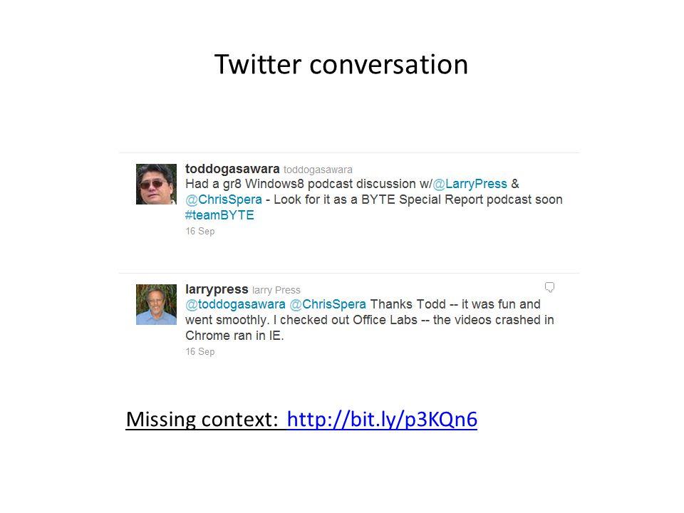 Twitter conversation Missing context: http://bit.ly/p3KQn6http://bit.ly/p3KQn6