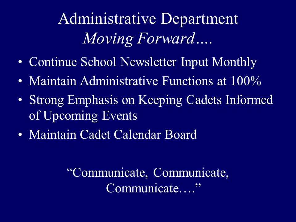 Administrative Department Moving Forward….