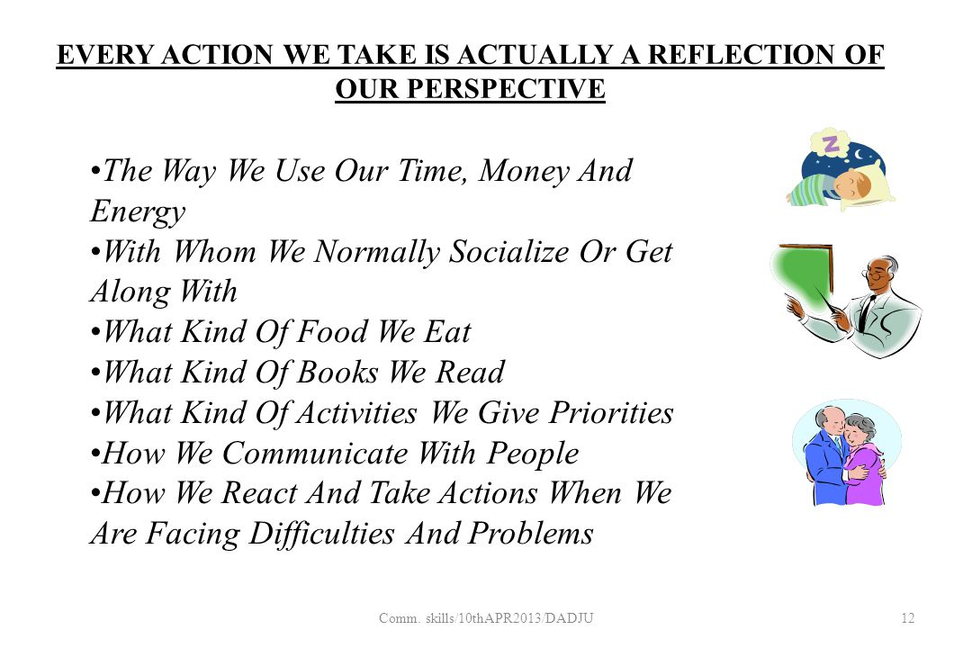 EVERY ACTION WE TAKE IS ACTUALLY A REFLECTION OF OUR PERSPECTIVE The Way We Use Our Time, Money And Energy With Whom We Normally Socialize Or Get Along With What Kind Of Food We Eat What Kind Of Books We Read What Kind Of Activities We Give Priorities How We Communicate With People How We React And Take Actions When We Are Facing Difficulties And Problems 12Comm.