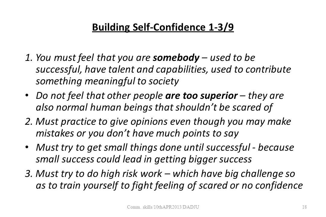 Building Self-Confidence 1-3/9 1.