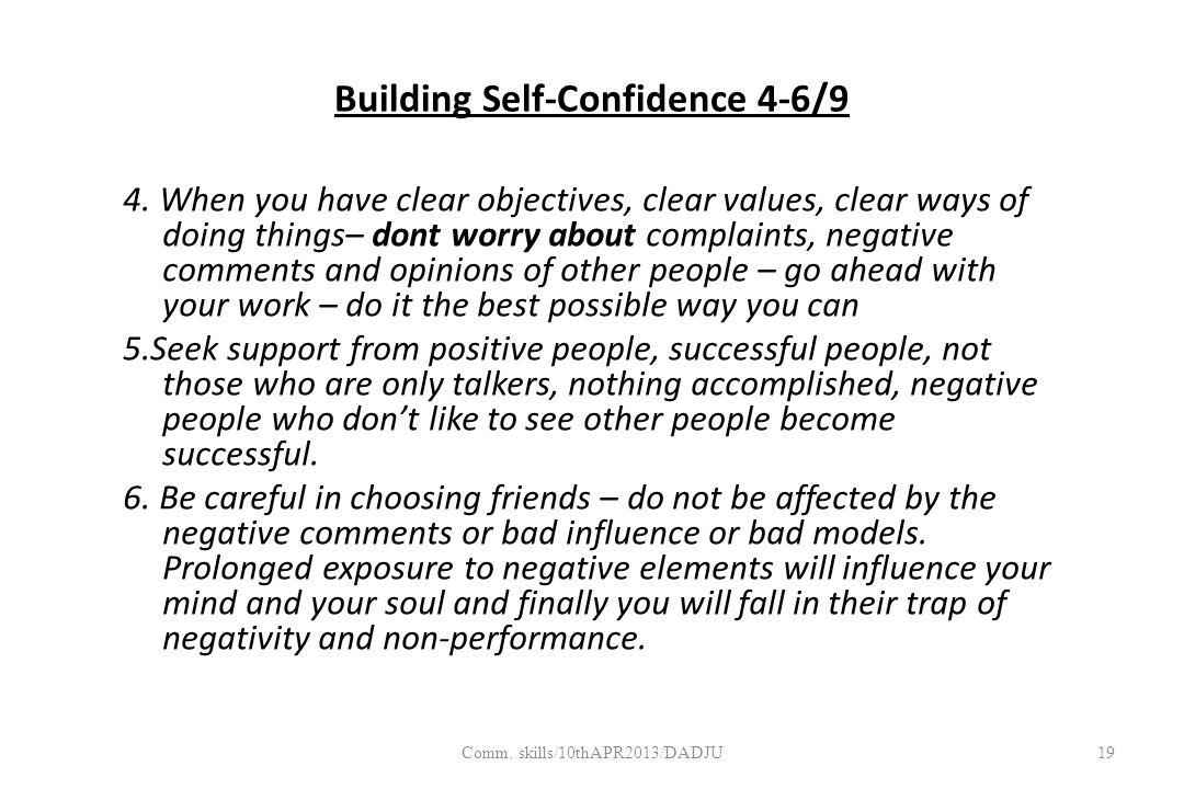 Building Self-Confidence 4-6/9 4.