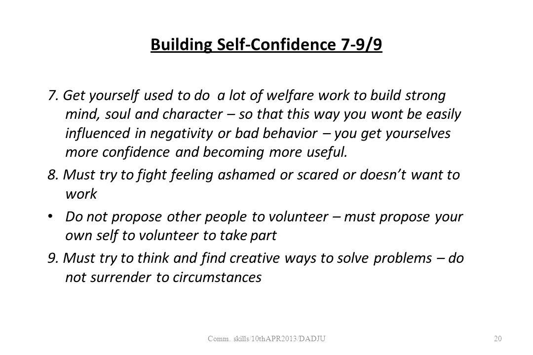 Building Self-Confidence 7-9/9 7.