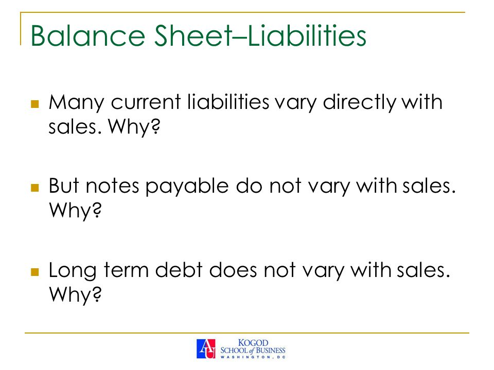 Balance Sheet–Liabilities Many current liabilities vary directly with sales.