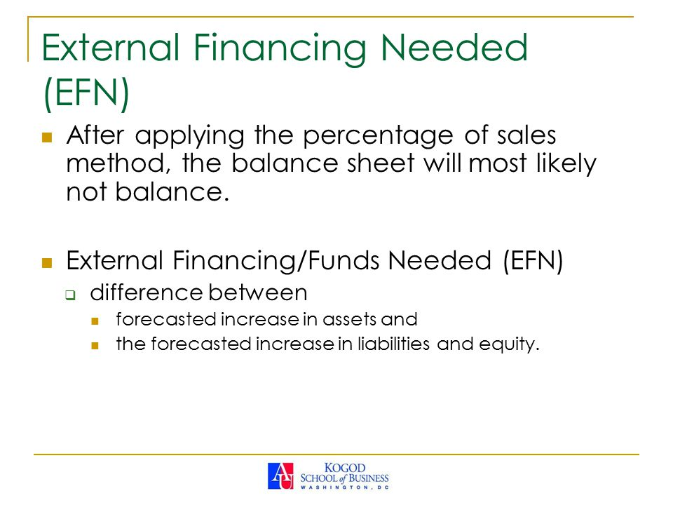 External Financing Needed (EFN) After applying the percentage of sales method, the balance sheet will most likely not balance.