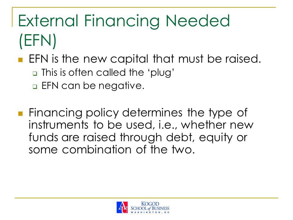 External Financing Needed (EFN) EFN is the new capital that must be raised.