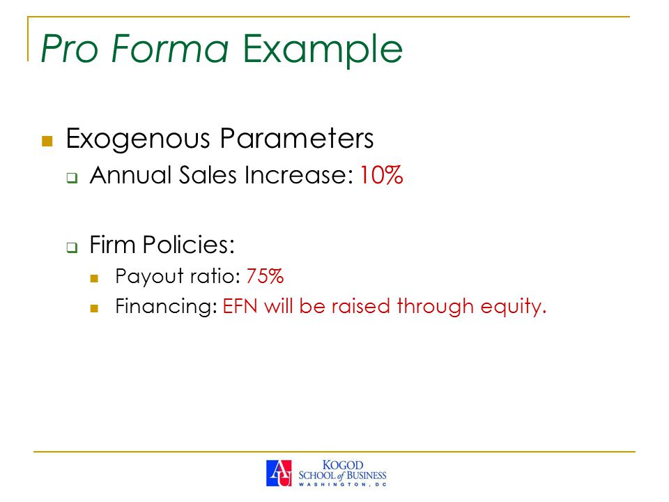 Pro Forma Example Exogenous Parameters  Annual Sales Increase: 10%  Firm Policies: Payout ratio: 75% Financing: EFN will be raised through equity.