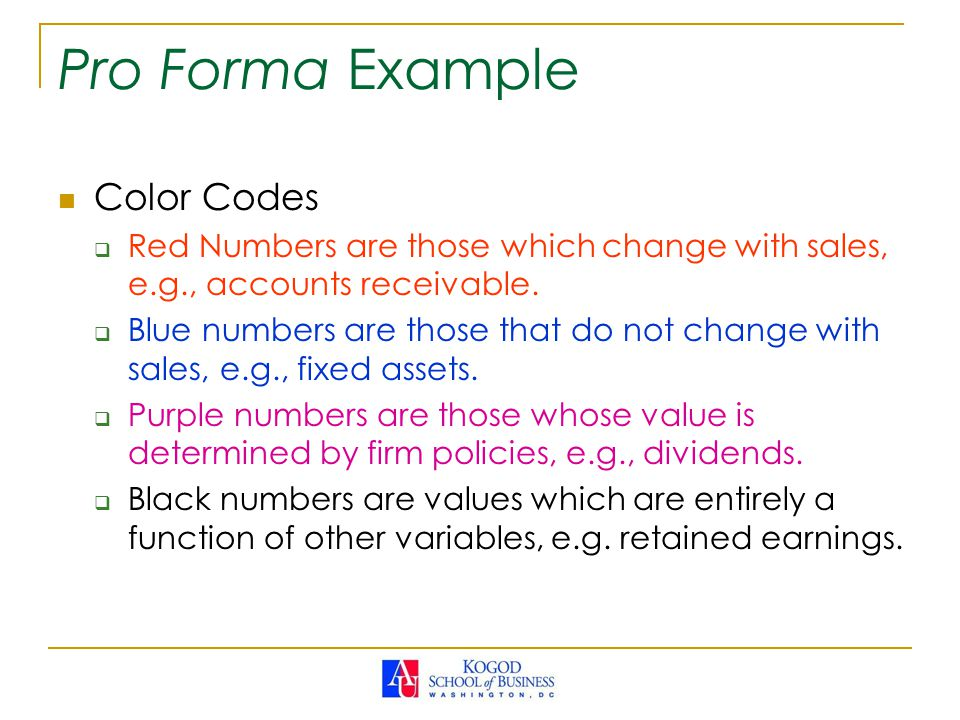 Pro Forma Example Color Codes  Red Numbers are those which change with sales, e.g., accounts receivable.