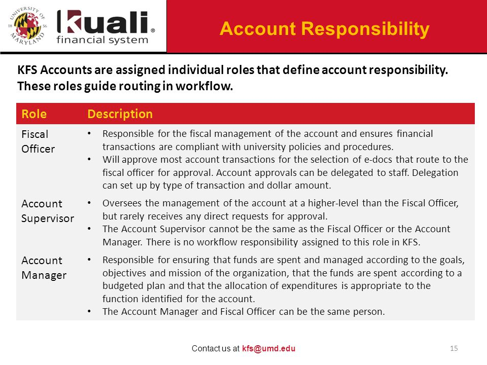 Account Responsibility 15 Contact us at kfs@umd.edu KFS Accounts are assigned individual roles that define account responsibility.