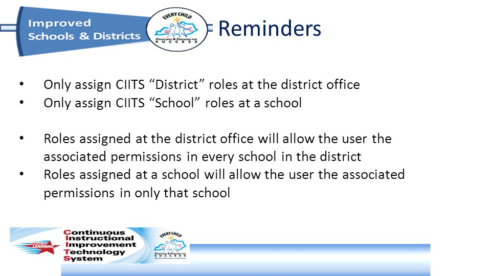 Reminders Only assign CIITS District roles at the district office Only assign CIITS School roles at a school Roles assigned at the district office will allow the user the associated permissions in every school in the district Roles assigned at a school will allow the user the associated permissions in only that school