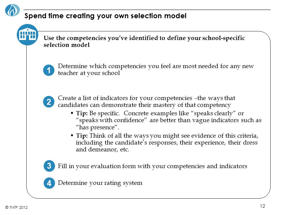 12 © TNTP 2012 Spend time creating your own selection model Use the competencies you've identified to define your school-specific selection model Dete