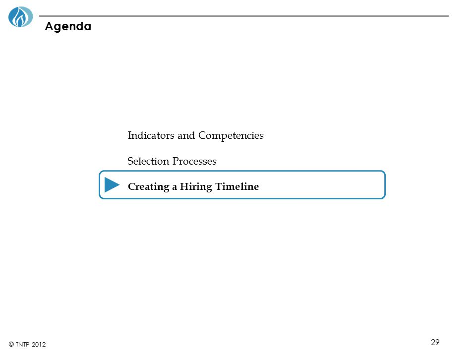 29 © TNTP 2012 Agenda Indicators and Competencies Selection Processes Creating a Hiring Timeline