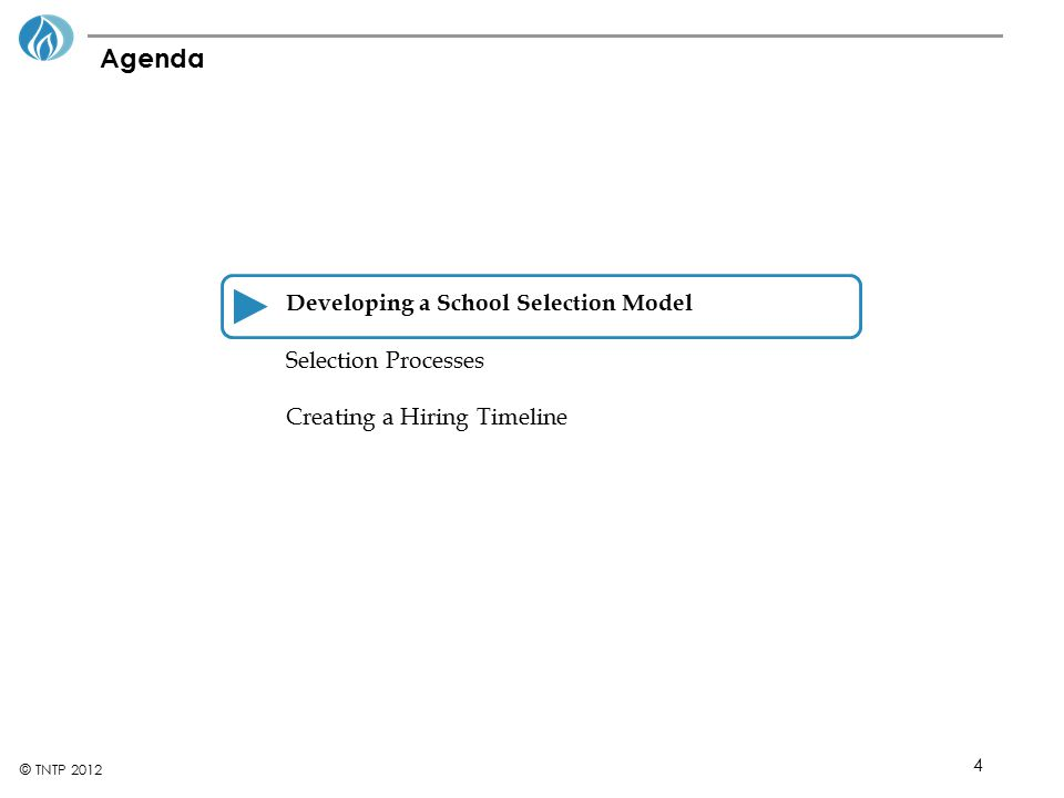 4 © TNTP 2012 Agenda Developing a School Selection Model Selection Processes Creating a Hiring Timeline