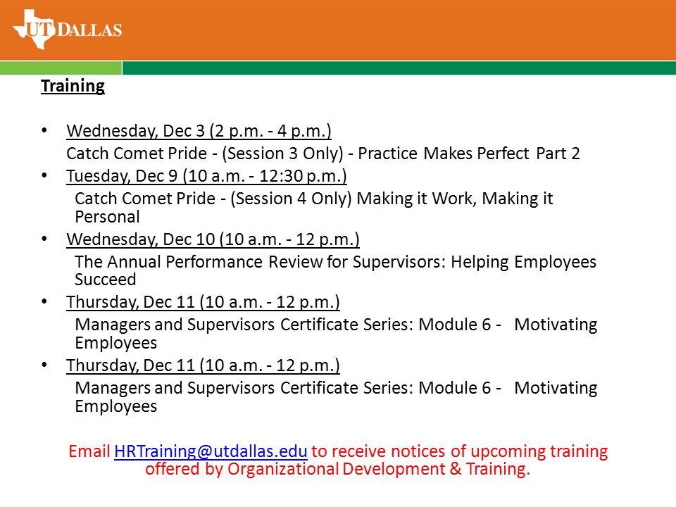 Training Wednesday, Dec 3 (2 p.m.
