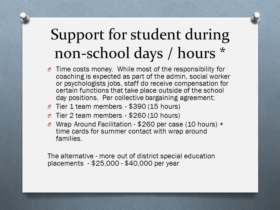 Support for student during non-school days / hours * O Time costs money. While most of the responsibility for coaching is expected as part of the admi