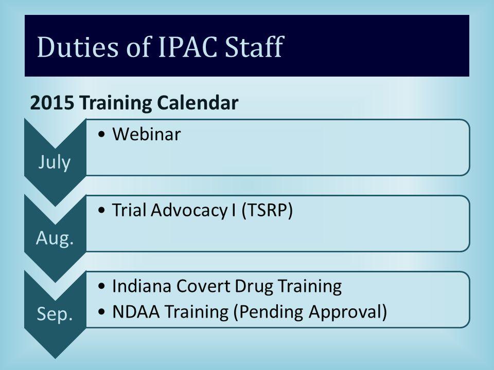Duties of IPAC Staff 2015 Training Calendar July Webinar Aug.