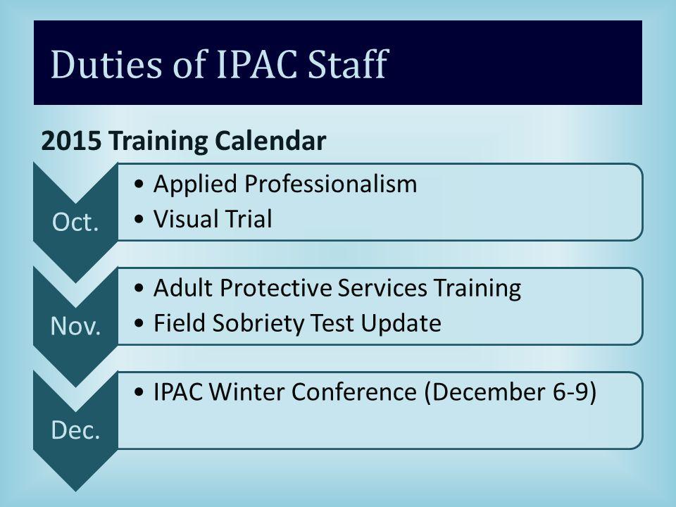 Duties of IPAC Staff 2015 Training Calendar Oct.Applied Professionalism Visual Trial Nov.