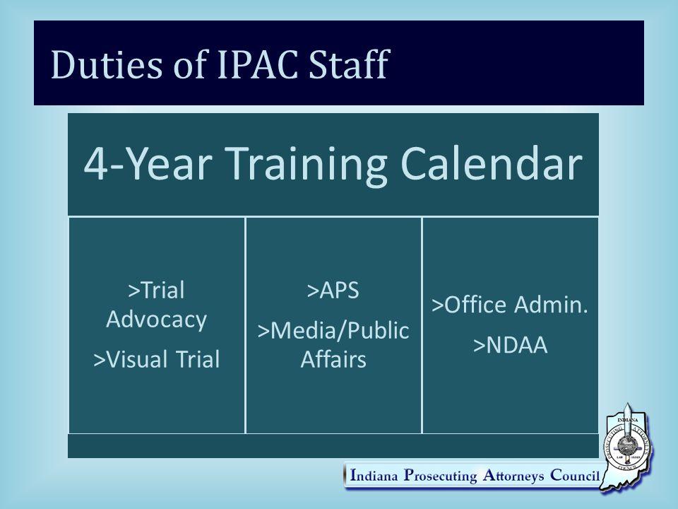 Duties of IPAC Staff 4-Year Training Calendar >Trial Advocacy >Visual Trial >APS >Media/Public Affairs >Office Admin.
