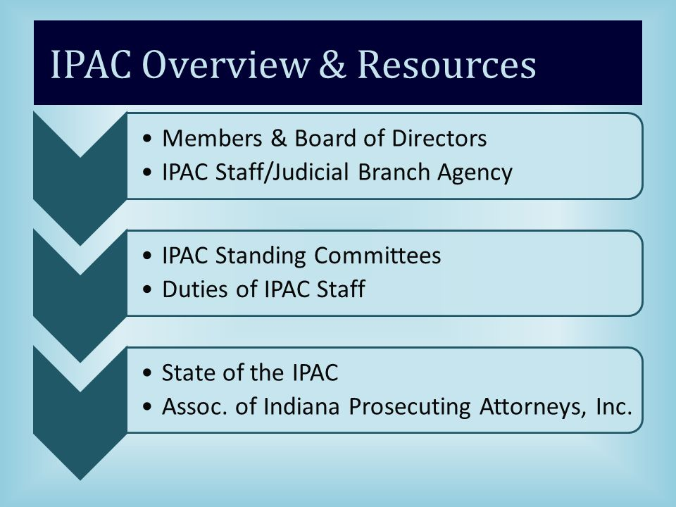 IPAC Overview & Resources Members & Board of Directors IPAC Staff/Judicial Branch Agency IPAC Standing Committees Duties of IPAC Staff State of the IPAC Assoc.
