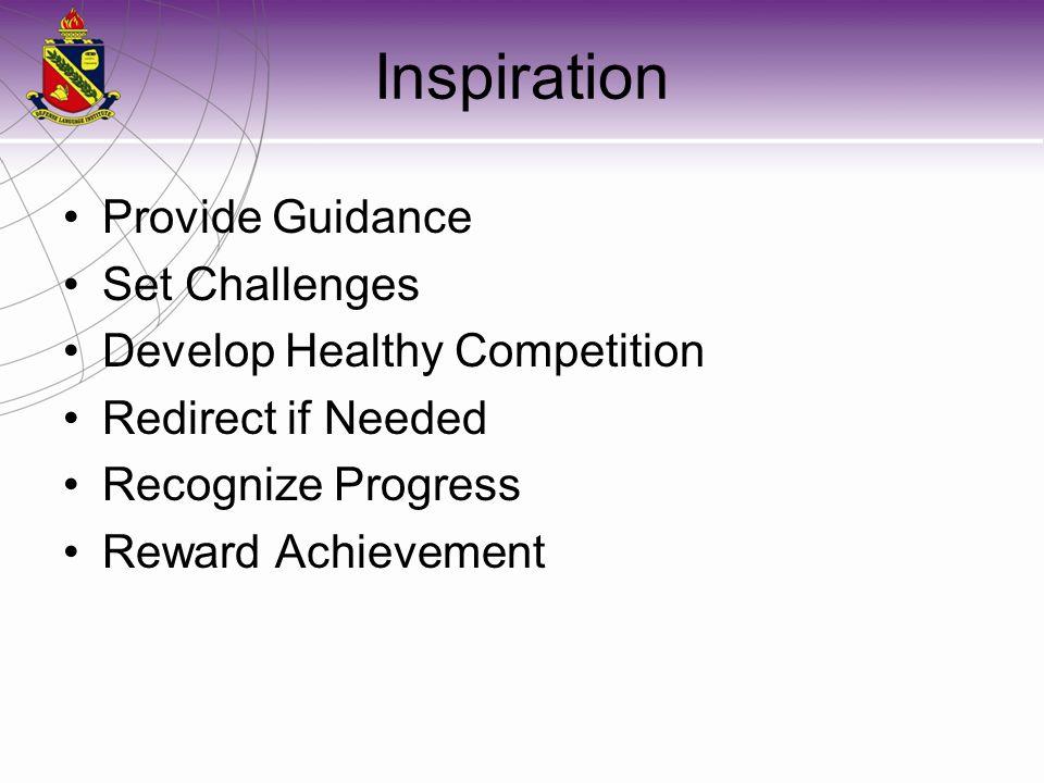 Inspiration Provide Guidance Set Challenges Develop Healthy Competition Redirect if Needed Recognize Progress Reward Achievement