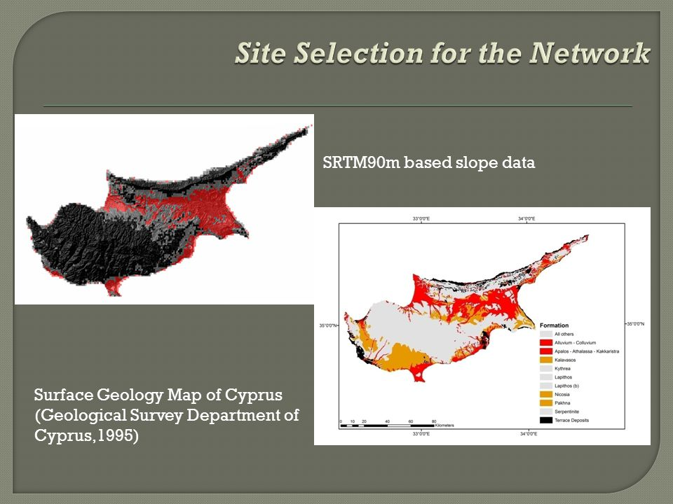 Surface Geology Map of Cyprus (Geological Survey Department of Cyprus,1995) SRTM90m based slope data