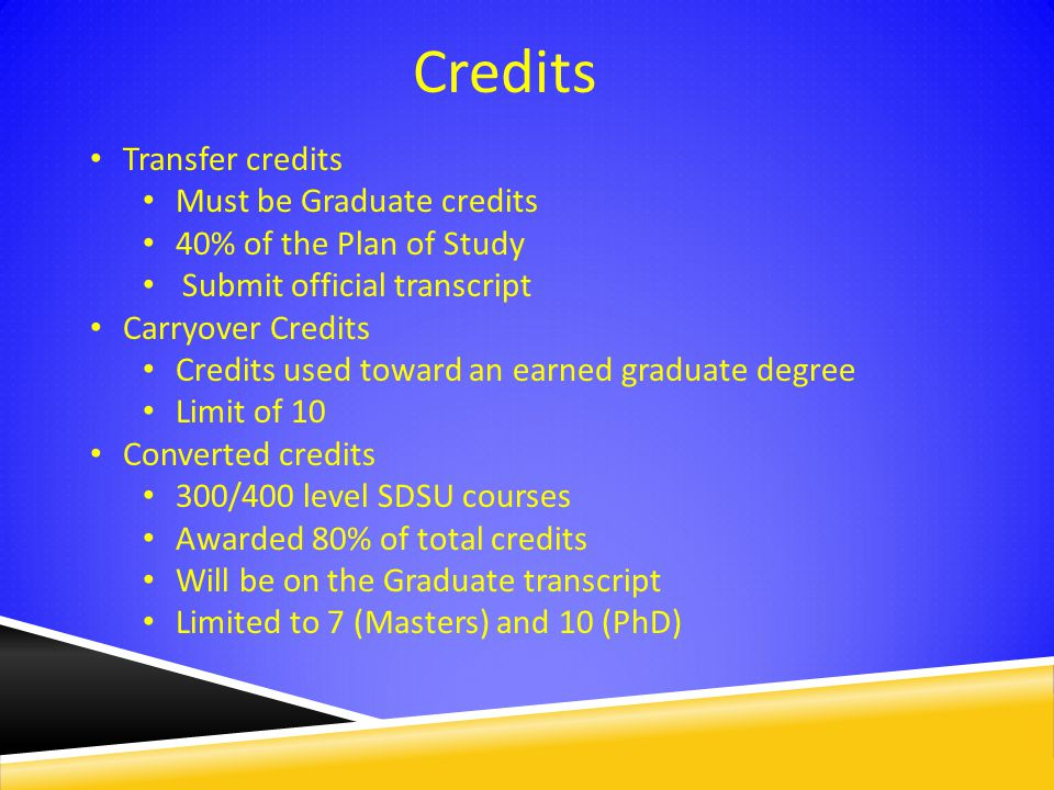 Credits Transfer credits Must be Graduate credits 40% of the Plan of Study Submit official transcript Carryover Credits Credits used toward an earned