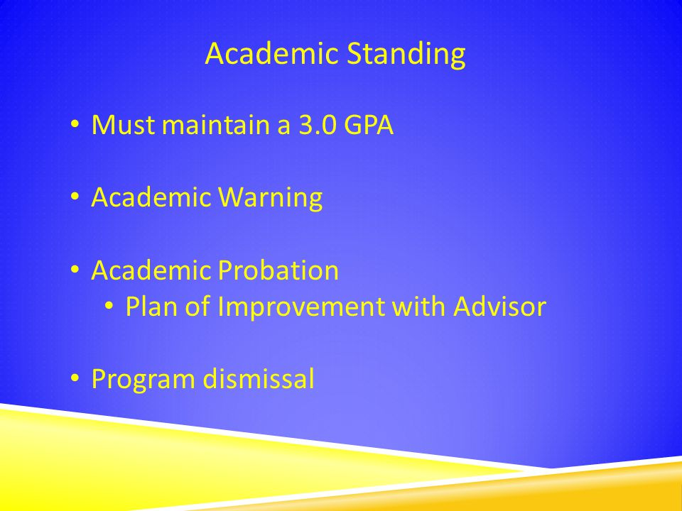 Academic Standing Must maintain a 3.0 GPA Academic Warning Academic Probation Plan of Improvement with Advisor Program dismissal