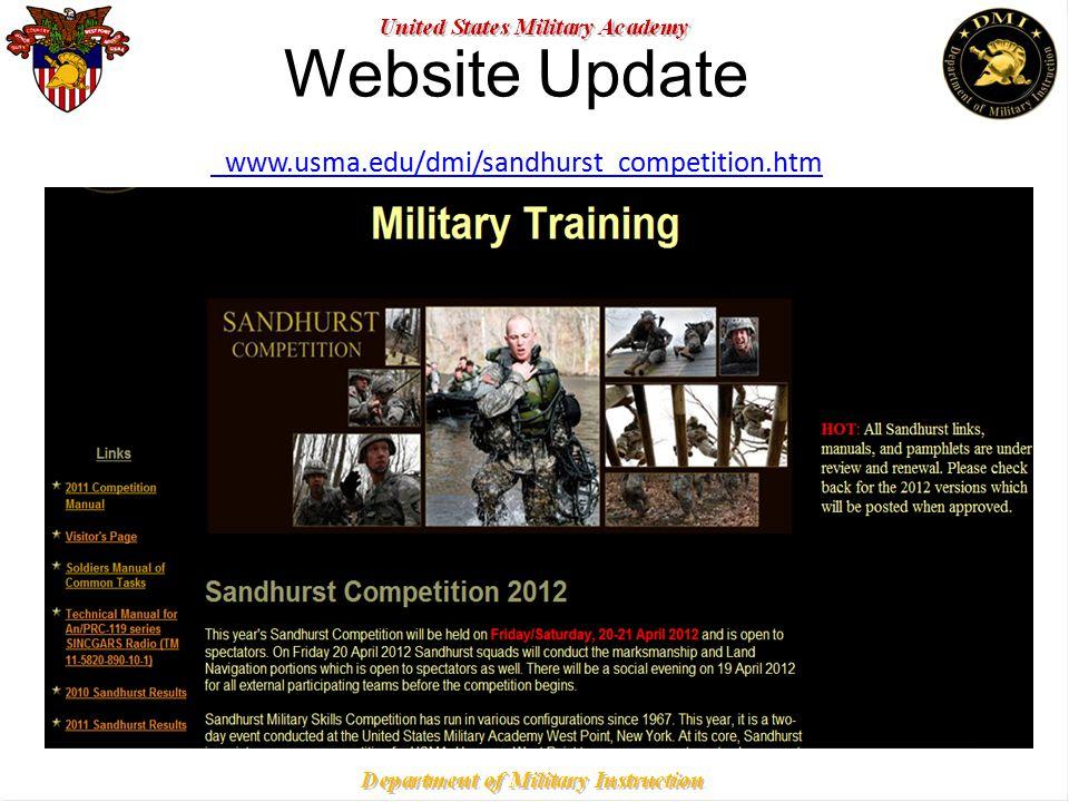 Website Update www.usma.edu/dmi/sandhurst_competition.htm www.usma.edu/dmi/sandhurst_competition.htm