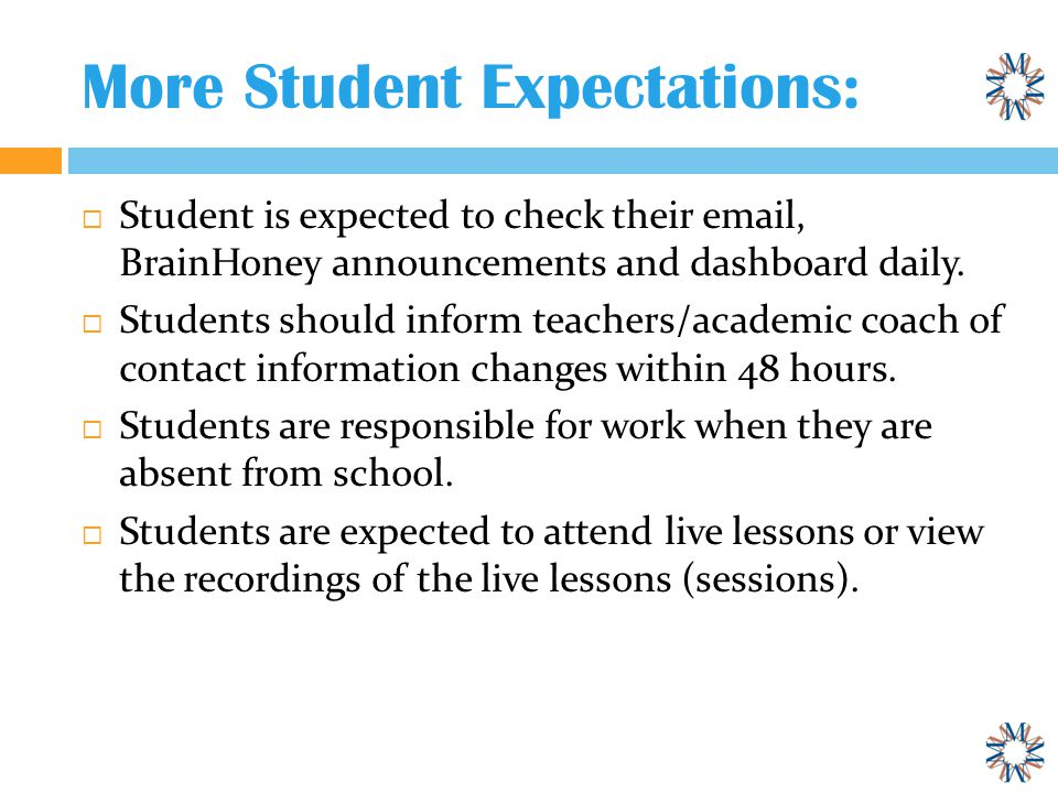 More Student Expectations:  Student is expected to check their email, BrainHoney announcements and dashboard daily.