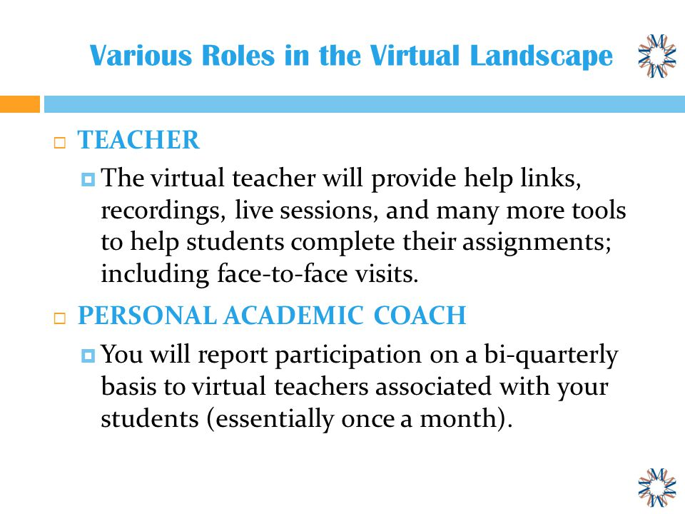Various Roles in the Virtual Landscape  TEACHER  The virtual teacher will provide help links, recordings, live sessions, and many more tools to help students complete their assignments; including face-to-face visits.