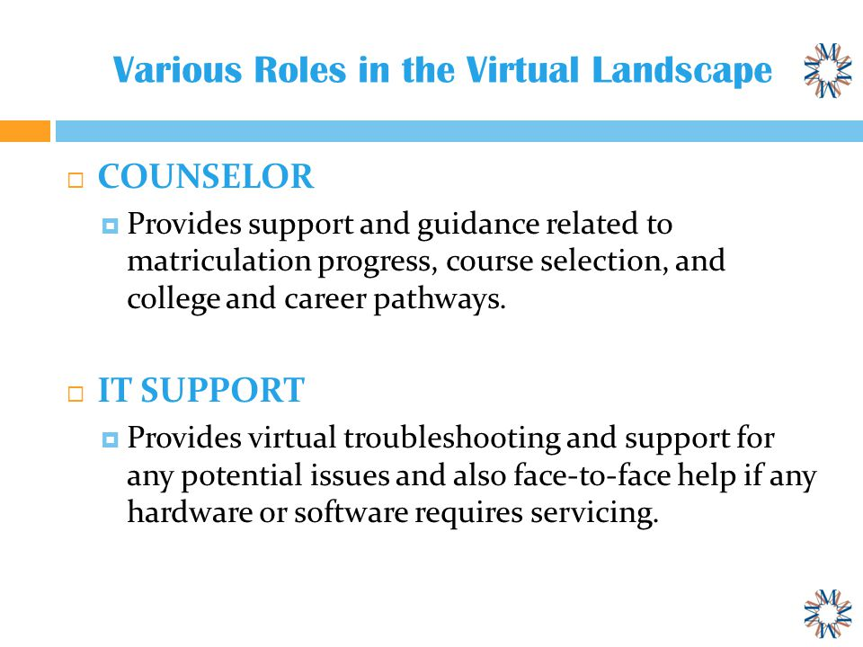 Various Roles in the Virtual Landscape  COUNSELOR  Provides support and guidance related to matriculation progress, course selection, and college and career pathways.