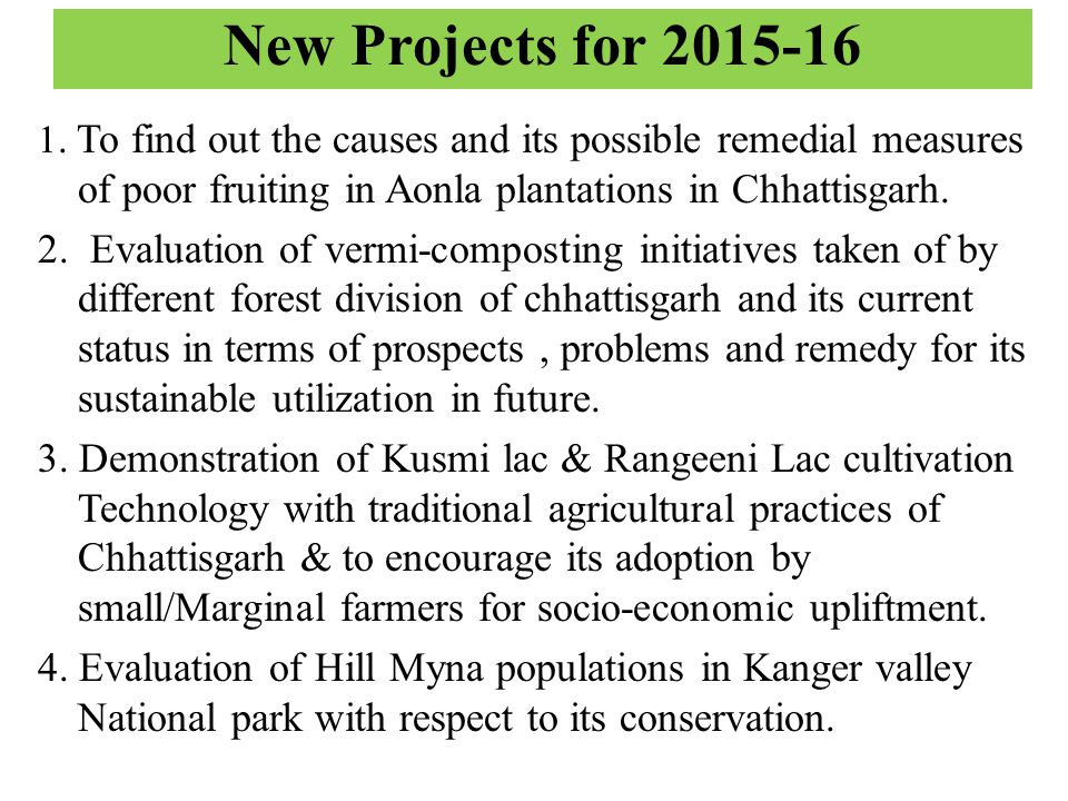 New Projects for 2015-16 1.