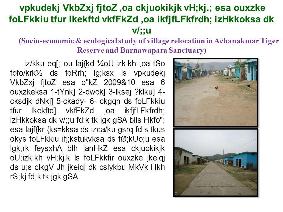 vpkudekj VkbZxj fjtoZ,oa ckjuokikjk vH;kj.; esa ouxzke foLFkkiu tfur lkekftd vkfFkZd,oa ikfjfLFkfrdh; izHkkoksa dk v/;;u (Socio-economic & ecological study of village relocation in Achanakmar Tiger Reserve and Barnawapara Sanctuary) iz/kku eq[; ou laj{kd ¼oU;izk.kh,oa tSo fofo/krk½ ds foRrh; lg;ksx ls vpkudekj VkbZxj fjtoZ esa o kZ 2009&10 esa 6 ouxzkeksa 1-tYnk] 2-dwck] 3-lksej ?klku] 4- cksdjk dNkj] 5-ckady- 6- ckgqn ds foLFkkiu tfur lkekftd] vkfFkZd,oa ikfjfLFkfrdh; izHkkoksa dk v/;;u fd;k tk jgk gSA blls Hkfo ; esa lajf{kr {ks=kksa ds izca/ku gsrq fd;s tkus okys foLFkkiu ifj;kstukvksa ds fØ;kUo;u esa lgk;rk feysxhA blh lanHkZ esa ckjuokikjk oU;izk.kh vH;kj.k ls foLFkkfir ouxzke jkeiqj ds u;s clkgV Jh jkeiqj dk cslykbu MkVk Hkh rS;kj fd;k tk jgk gSA