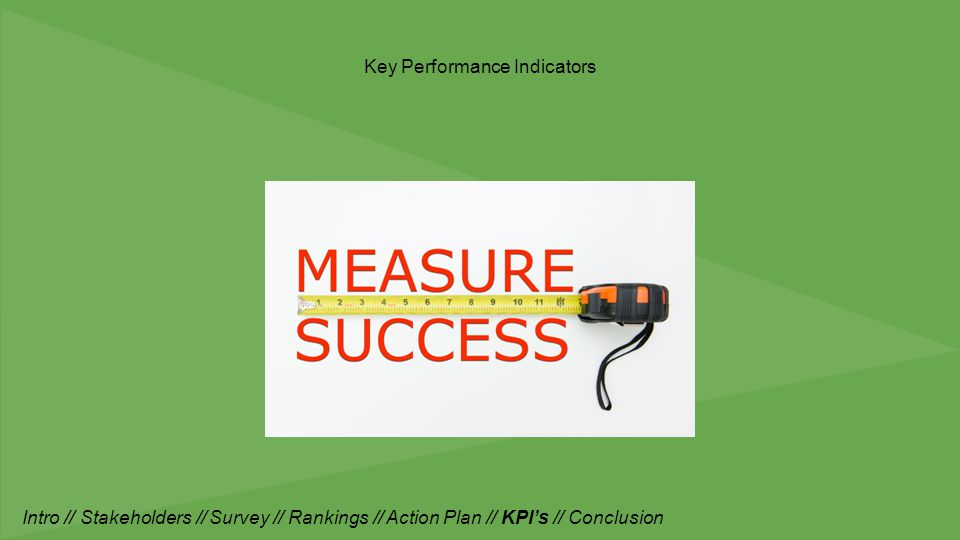 Key Performance Indicators Intro // Stakeholders // Survey // Rankings // Action Plan // KPI's // Conclusion
