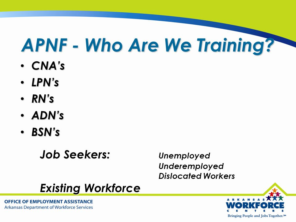 APNF - Who Are We Training? CNA's CNA's LPN's LPN's RN's RN's ADN's ADN's BSN's BSN's Job Seekers: Unemployed Underemployed Dislocated Workers Existin