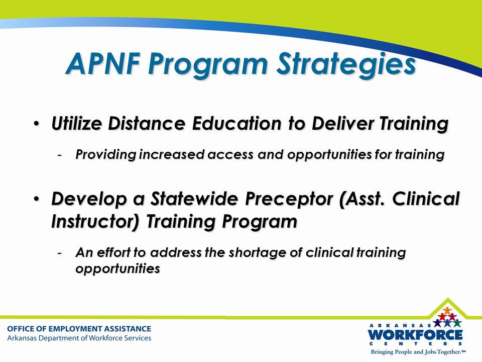 APNF Program Strategies Utilize Distance Education to Deliver Training Utilize Distance Education to Deliver Training - Providing increased access and