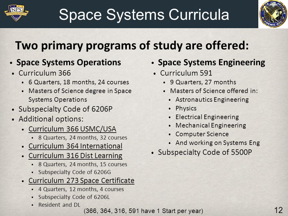 Two primary programs of study are offered: Space Systems Engineering Curriculum 591 9 Quarters, 27 months Masters of Science offered in: Astronautics
