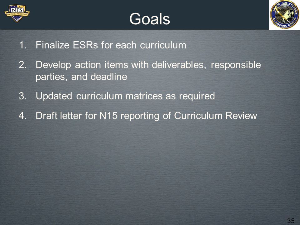 35 Goals 1.Finalize ESRs for each curriculum 2.Develop action items with deliverables, responsible parties, and deadline 3.Updated curriculum matrices