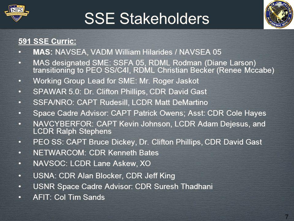 7 SSE Stakeholders 591 SSE Curric: MAS: NAVSEA, VADM William Hilarides / NAVSEA 05 MAS designated SME: SSFA 05, RDML Rodman (Diane Larson) transitioning to PEO SS/C4I, RDML Christian Becker (Renee Mccabe) Working Group Lead for SME: Mr.