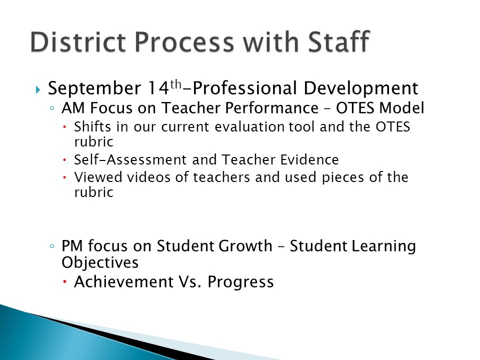  September 14 th -Professional Development ◦ AM Focus on Teacher Performance – OTES Model  Shifts in our current evaluation tool and the OTES rubric  Self-Assessment and Teacher Evidence  Viewed videos of teachers and used pieces of the rubric ◦ PM focus on Student Growth – Student Learning Objectives  Achievement Vs.