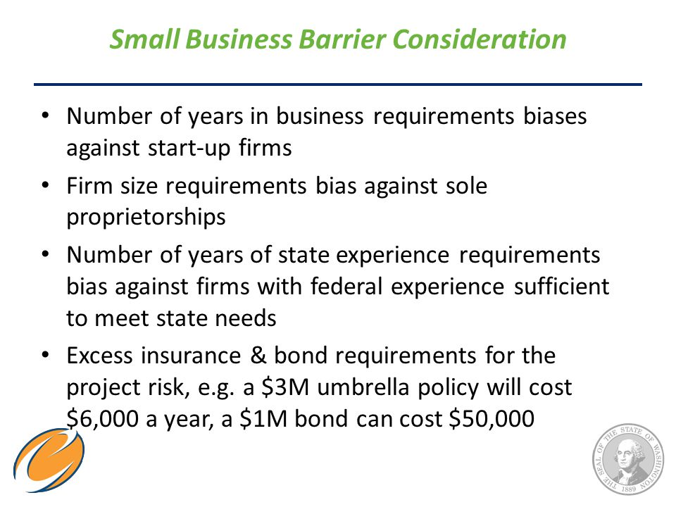 Small Business Barrier Consideration Number of years in business requirements biases against start-up firms Firm size requirements bias against sole proprietorships Number of years of state experience requirements bias against firms with federal experience sufficient to meet state needs Excess insurance & bond requirements for the project risk, e.g.