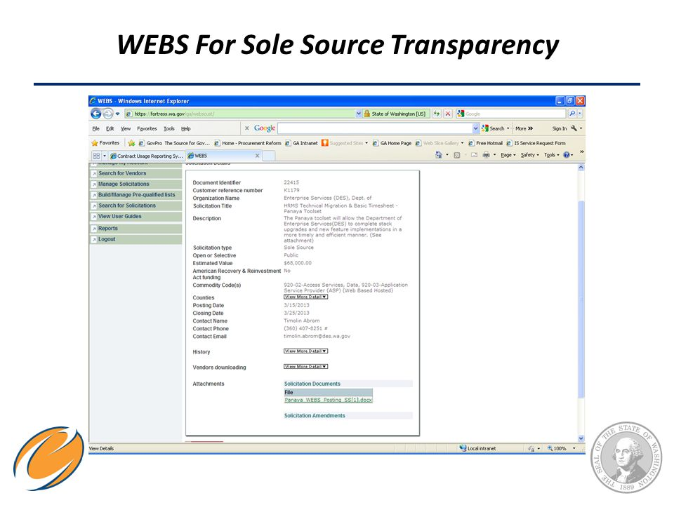 WEBS For Sole Source