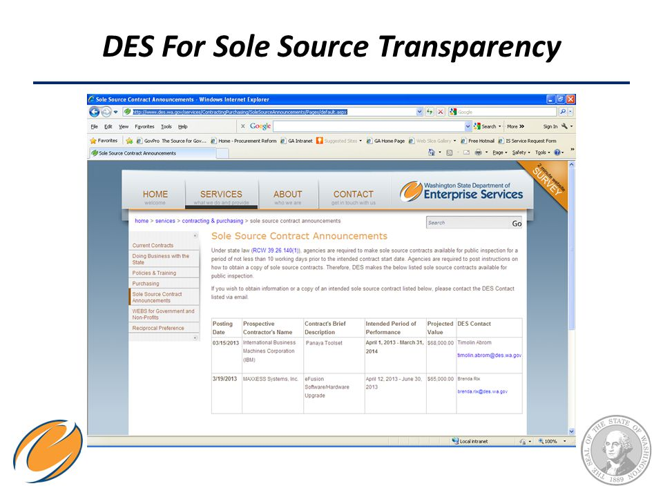 DES For Sole Source Transparency
